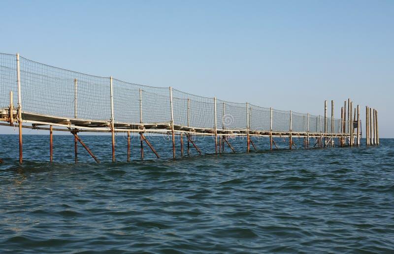 Fishing pontoon on the sea royalty free stock image