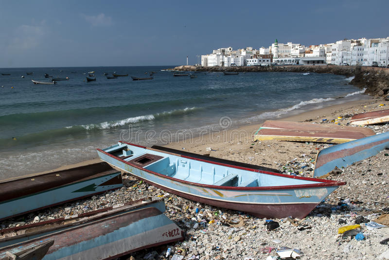 The fishing port of Al Mukalla in Yemen stock photos