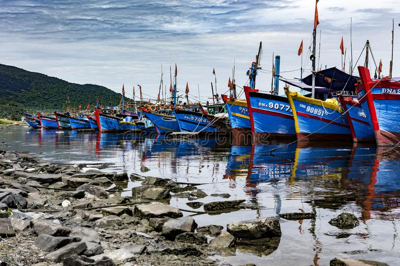 Fishing port in danang in Vietnam royalty free stock photo