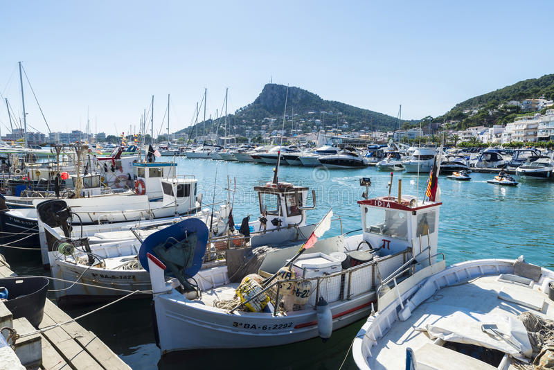 Fishing port and recreational boats in Estartit, Spain royalty free stock photography