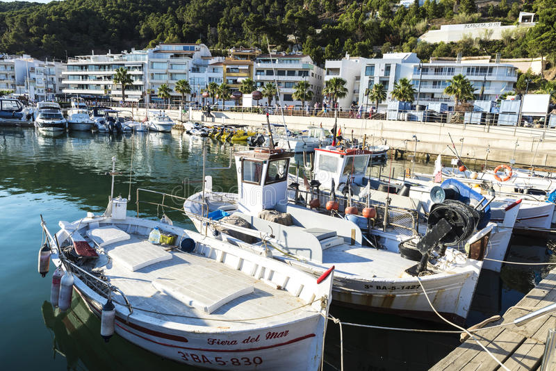 Fishing port and recreational boats in Estartit, Spain royalty free stock photo