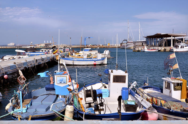 Fishing port of Roses in Spain stock photography