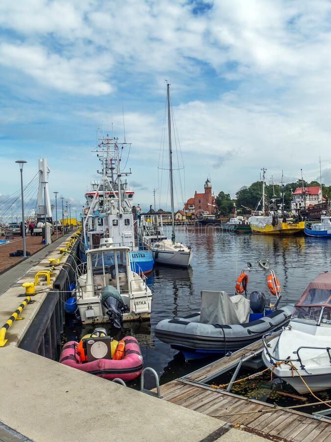 Fishing port in Ustka, Poland royalty free stock photos