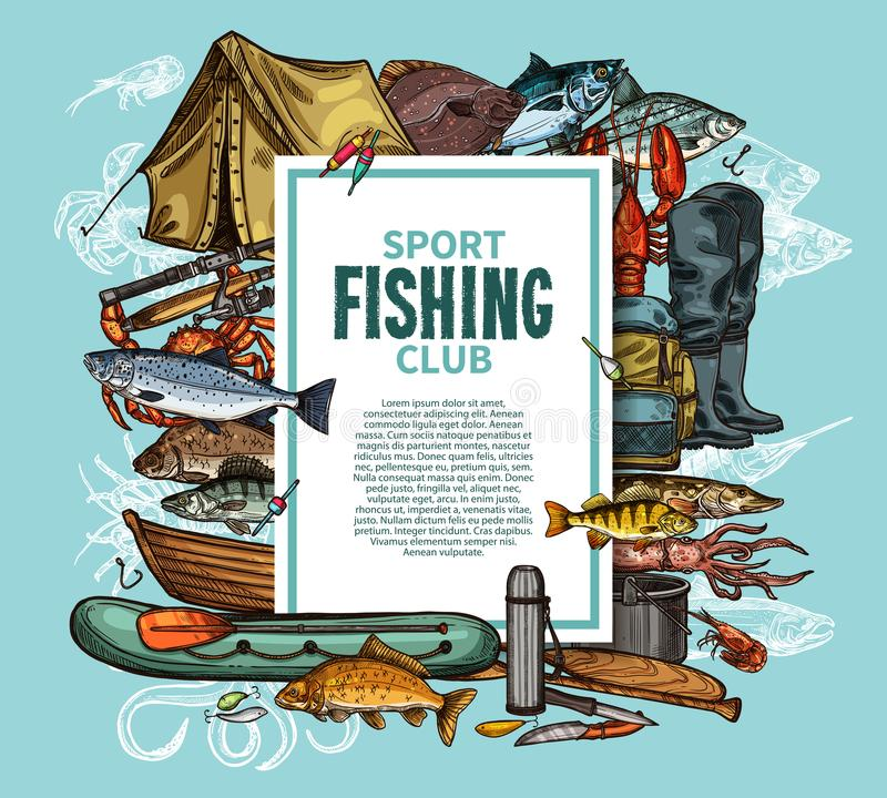 Fishing poster with fish catch and fisherman tool. Fishing sport club poster with fish catch and fisherman tool sketch frame. Fishing rod, boat and tackle, hook vector illustration