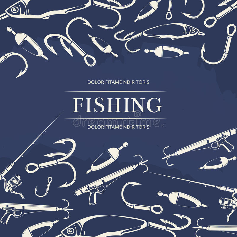 Fishing poster with hook, fishing rod stock illustration