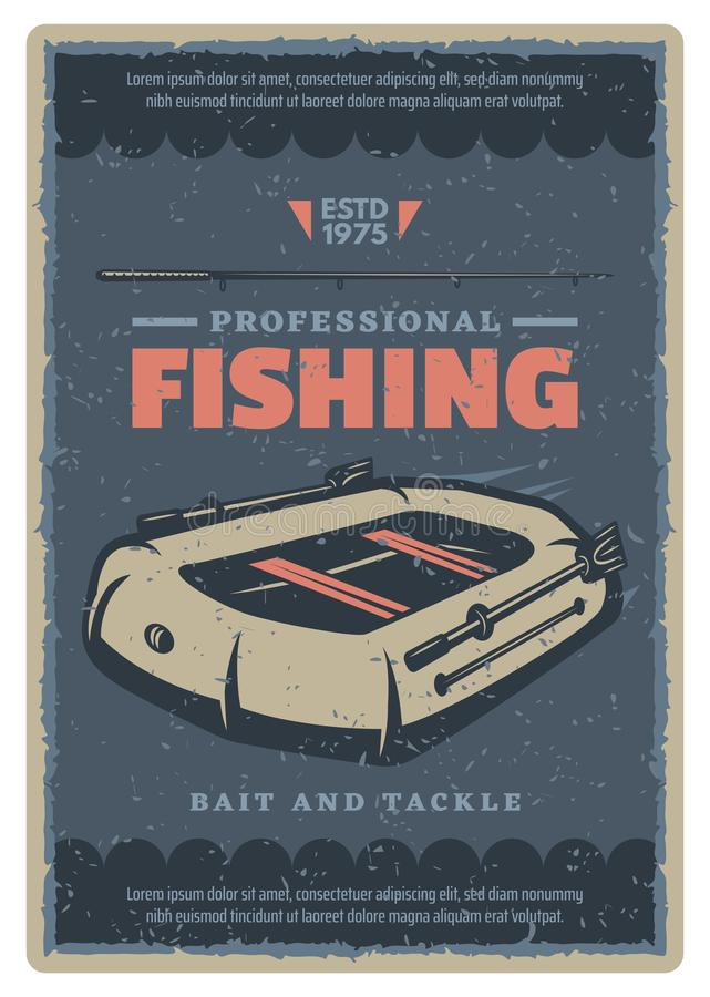 Vector vintage poster of fishing rubber boat royalty free illustration