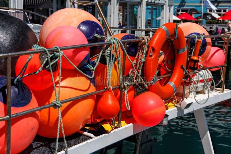 Fishing red buoy. Location - Wellington, North Island, New Zealand royalty free stock photography
