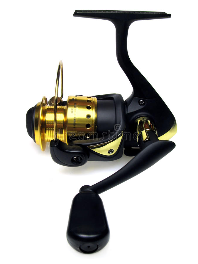 Fishing reel. The black fishing reel on a white background royalty free stock image