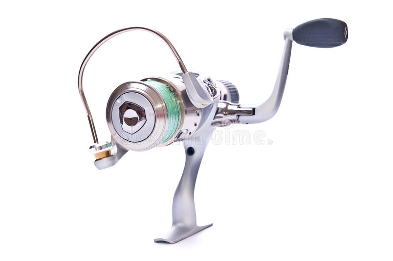 Fishing reel. Steel fishing reel on white background isolated stock photos