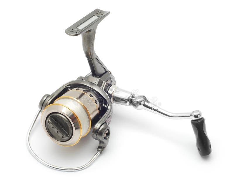 Fishing reel. Isolated on white stock image