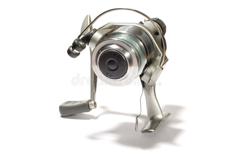 Fishing reel. Series object on white: isolated fishing reel stock image