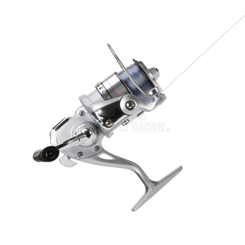 Fishing reel. New fishing reel. Isolated on white background stock images