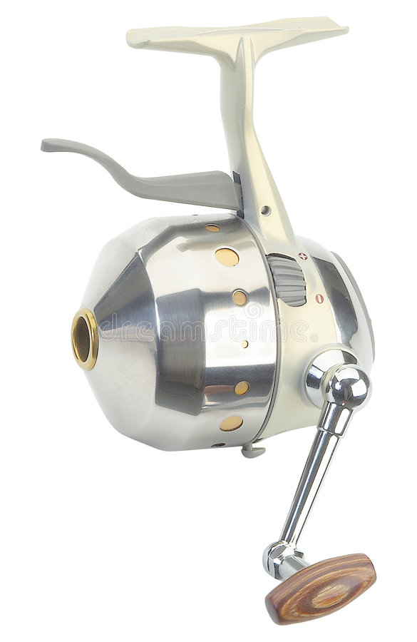 Fishing reel. A simple kind of fishing reel, classic design, chrome elements royalty free stock image