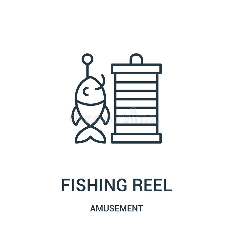 fishing reel icon vector from amusement collection. Thin line fishing reel outline icon vector illustration vector illustration