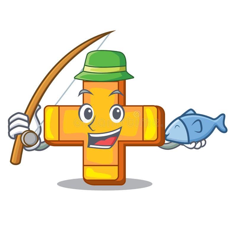 Fishing retro plus sign addition symbol cartoon royalty free illustration