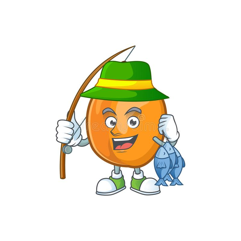 Fishing ripe apricot character mascot of cartoon. Vector illustration royalty free illustration