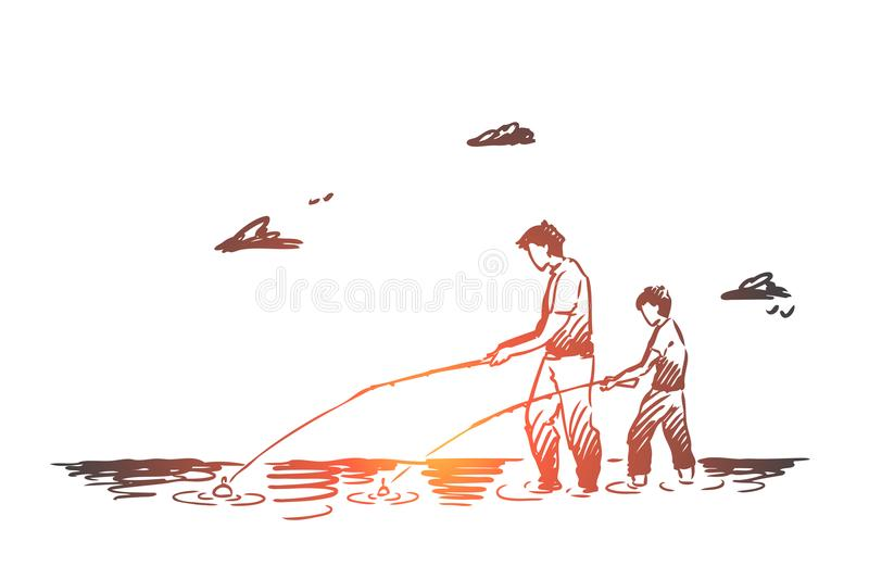 Fishing, river, father, son, catch concept. Hand drawn isolated vector. Fishing, river, father, son, catch concept. Hand drawn dad and his son fishing together stock illustration