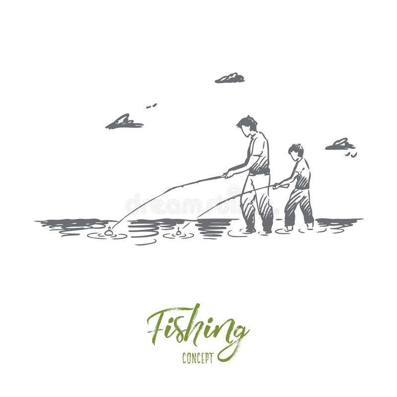 Fishing, river, father, son, catch concept. Hand drawn isolated vector. Fishing, river, father, son, catch concept. Hand drawn dad and his son fishing together royalty free illustration