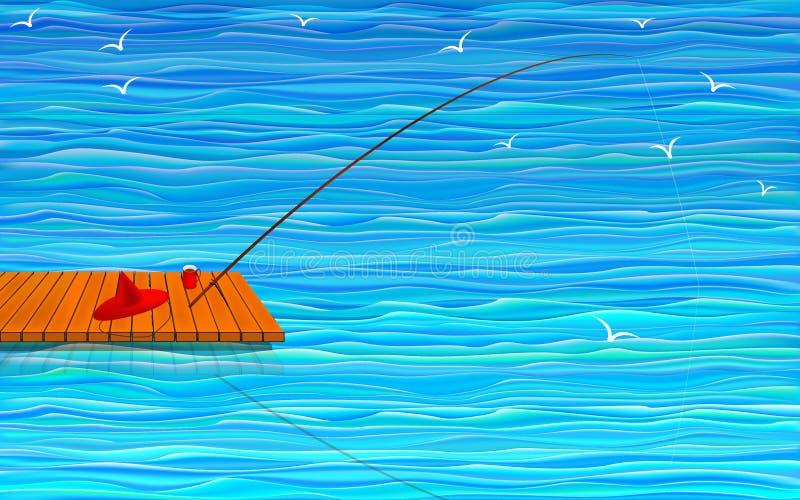 Fishing rod on the bridge in the sea royalty free illustration