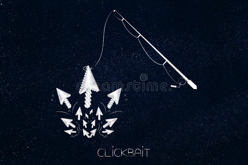 Fishing rod catching mouse pointer among a group, clickbait concept. Clickbait and user clickstream analysis concept: fishing rod catching mouse pointer among a stock image