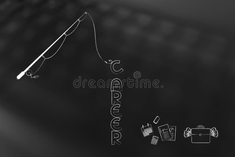 Fishing rod catching the text Career next to mixed office object royalty free illustration