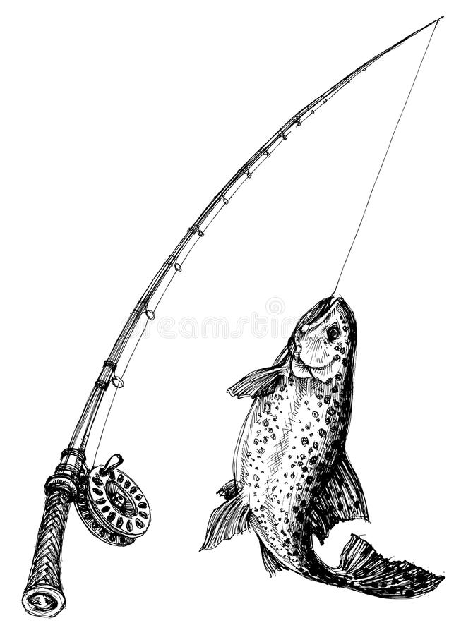Fishing rod royalty free illustration