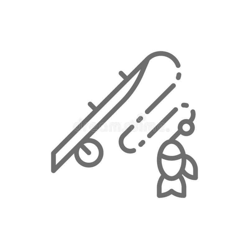 Fishing rod with fish line icon. vector illustration