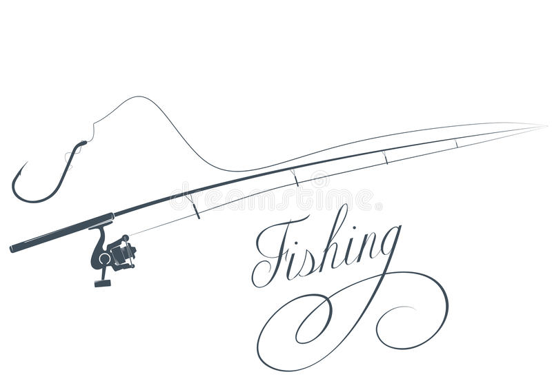 Fishing rod and fishing hook royalty free illustration