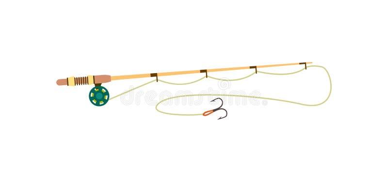 Fishing rod icon in flat style stock illustration