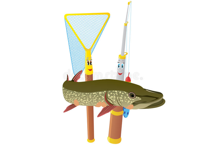 Download Fishing rod, net and pike stock image. Image of abstract - 29079499
