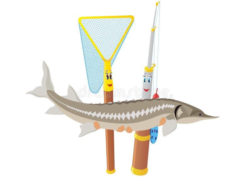 Download Fishing Rod, Net And Sturgeon Stock Vector - Image: 29079496