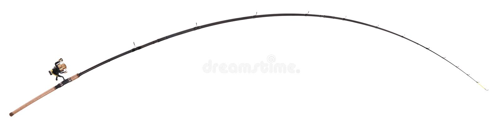Fishing rod, reel. Actual size, isolated on white stock photos