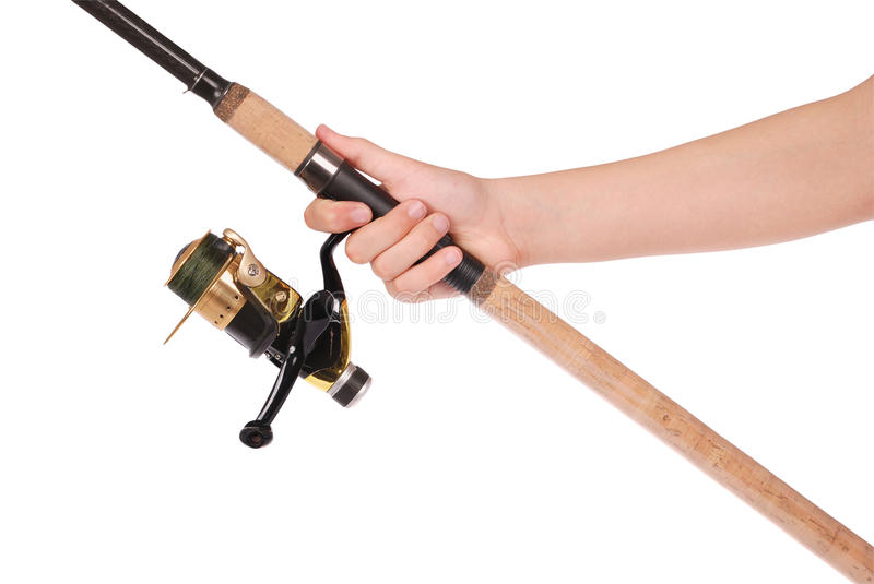 Fishing rod, reel in hand. Isolated over white background stock photo