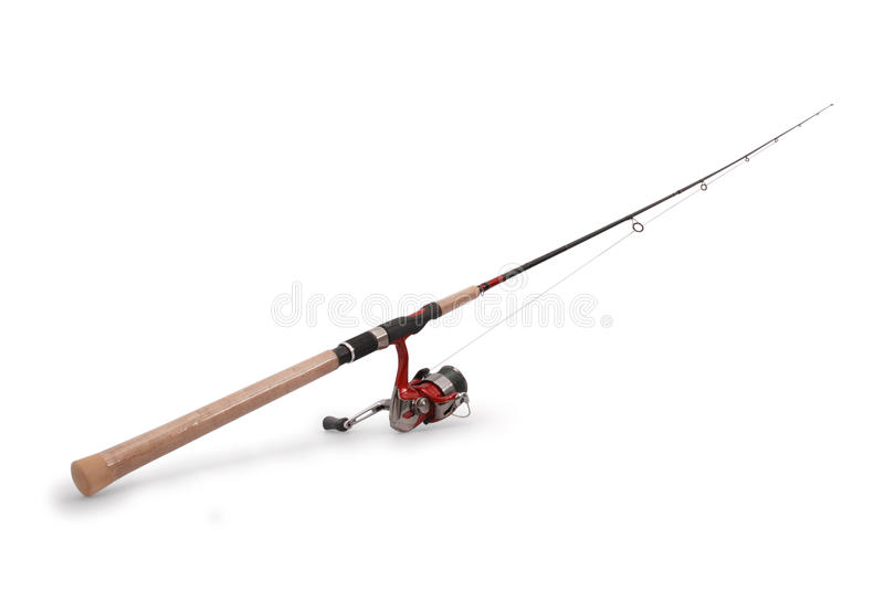 Fishing rod with a reel. Isolated on white background with soft shadow royalty free stock photography