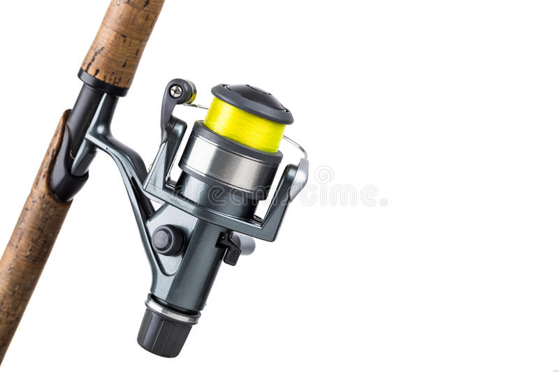 Fishing rod and reel with line. On white background stock images