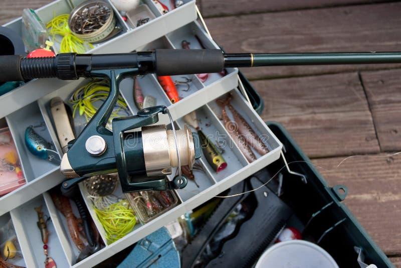 Fishing Rod and Tackle Box royalty free stock photo