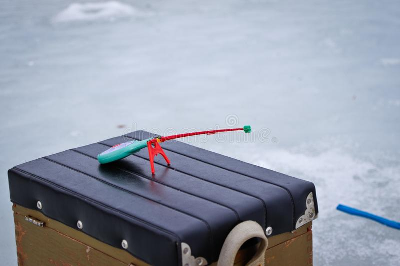Fishing rod for winter fishing stock photography