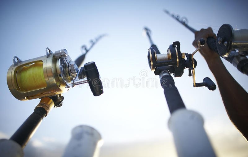 Fishing rods early in the morning stock photos