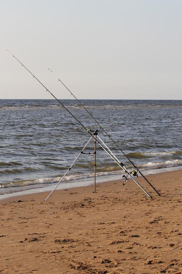 Fishing rods stock images