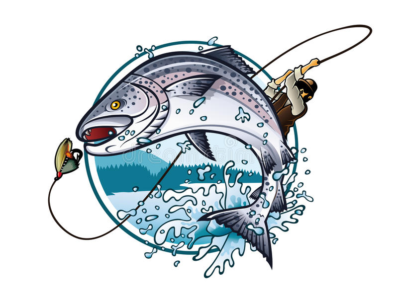 Fishing Salmon. Illustration of an fisherman is pulling fishing rod while salmon jumping to catch the bait on the lake