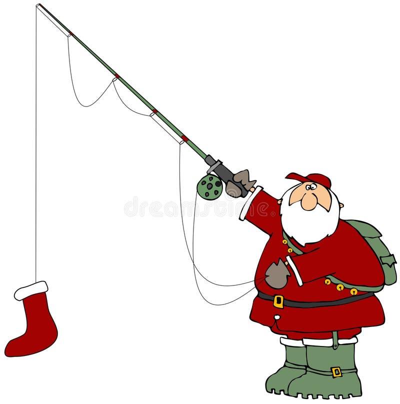 Fishing Santa vector illustration