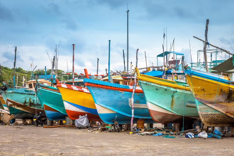 Fishing sea boats in a dry dock, Sri Lanka royalty free stock images