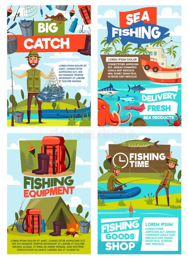 Fishing sea and lake fish catch tours. Fishing tourism or fish catch sport adventure. Vector fisherman at lake or sea in rubber boat with rod and camping tent royalty free illustration