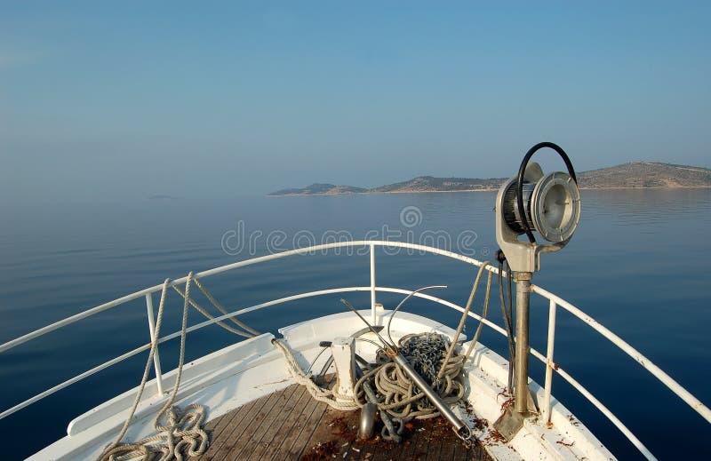 Fishing series - bow of fishing boat stock photo