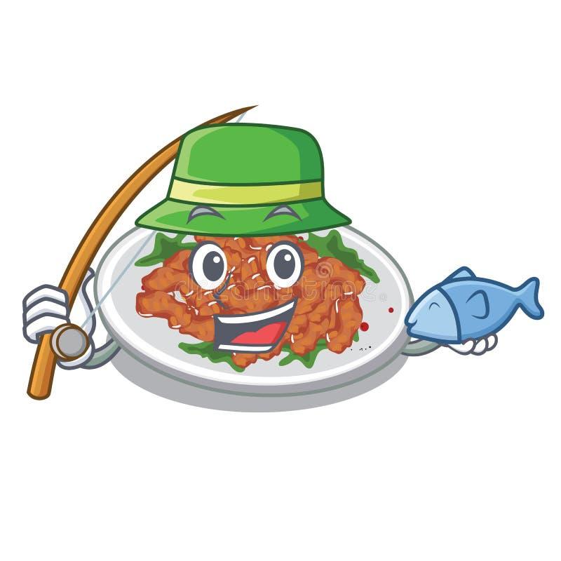 Fishing sesame chicken in a cartoon bowl. Vector illustration royalty free illustration