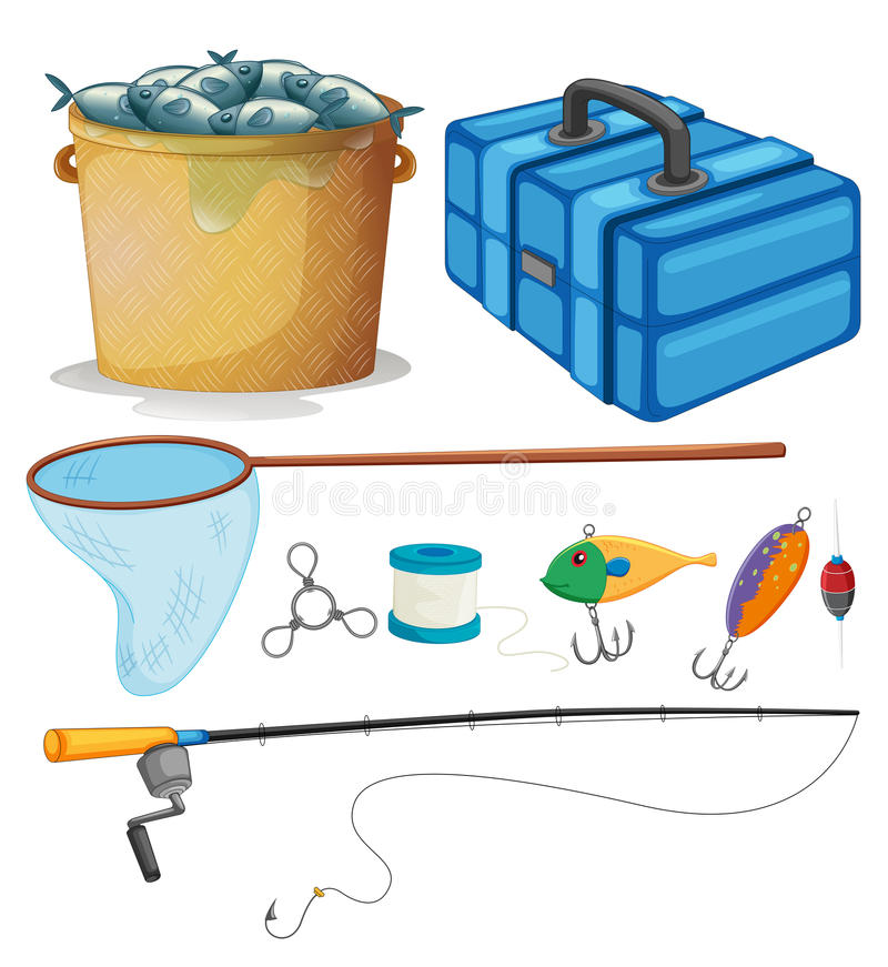 Fishing set with fishing pole and tools stock illustration