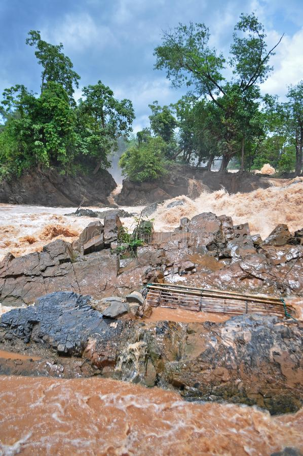 Fishing set at the Khone Phapheng falls on the Mekong River in Laos during the Monsoon flooding.  stock photo