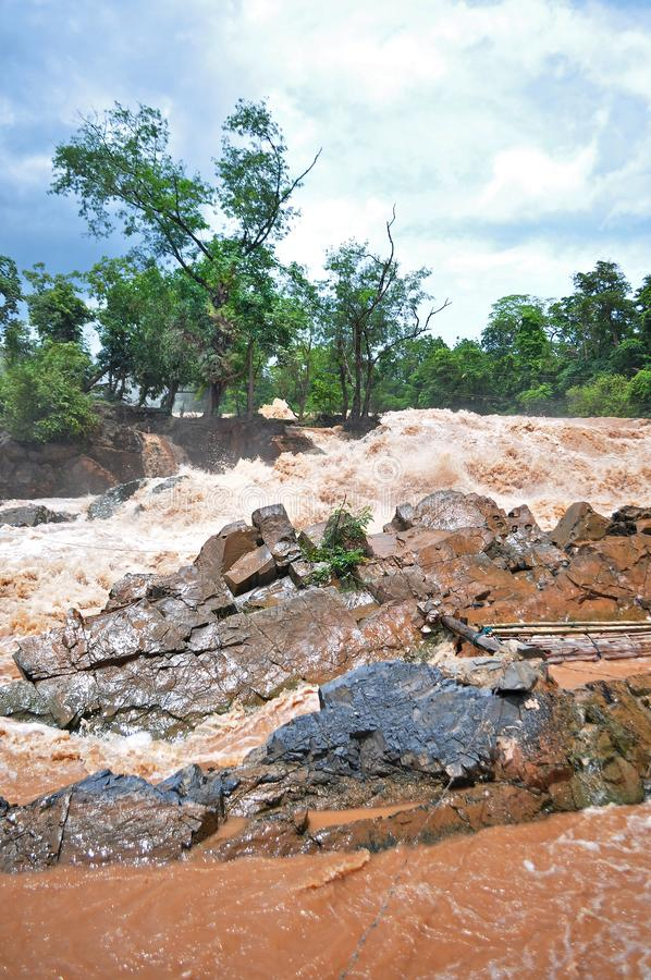 Fishing set at the Khone Phapheng falls on the Mekong River in Laos during the Monsoon flooding.  stock image