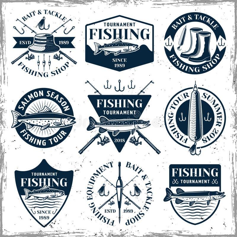 Fishing set of nine vector vintage emblems vector illustration