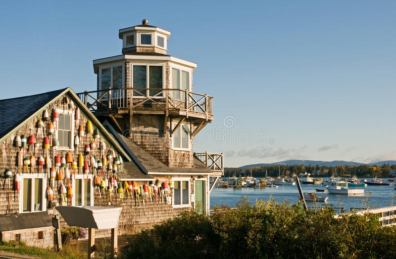 Fishing shack and pier royalty free stock photography